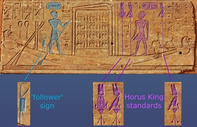 Hatshepsut on the barque of Amen with royal standards and Tuthmosis III with a follower sign.