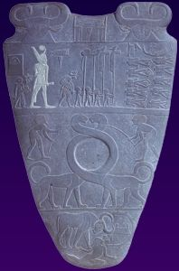 The Narmer palette showing the royal standards