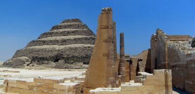 The Step Pyramid of King Djoser and some of the temples of his mortuary complex, at Saqqara, Egypt