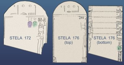 Drawings of two heavily damaged stelae with partial names of Tuthmosis III 