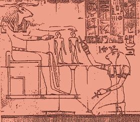 The god Khnum and goddess Heket give life to the body and ka of the infant Hatshepsut.