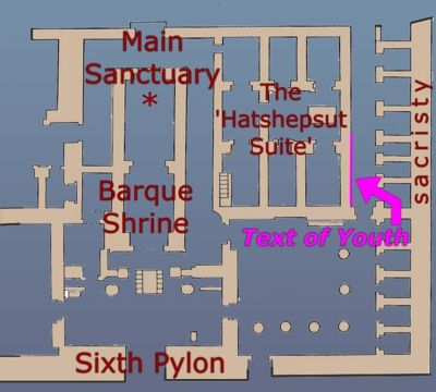 Plan of Karnak temple sanctuary showing the location of the Text of Youth, facing the sacristy rooms