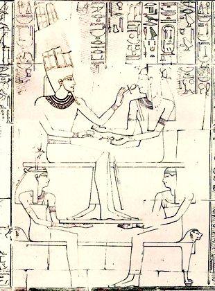 Amen-re and Queen Ahmose seated on a bed supported by goddesses.